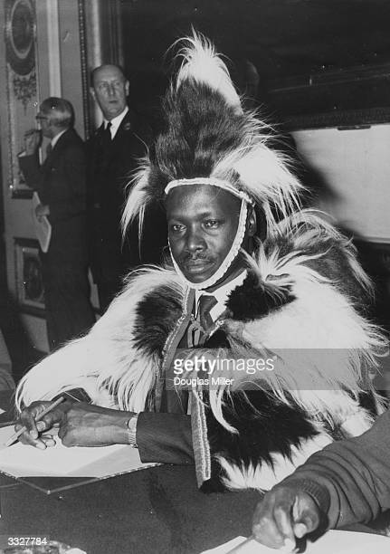 Mr Daniel arap Moi from Kenya in tribal dress attending a conference in London to discuss the future of the Kenya Coastal strip
