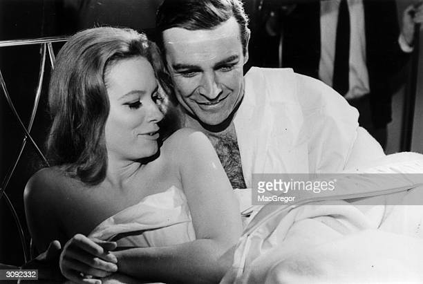 Sean Connery and Luciana Paluzzi in a scene from a James Bond film 'Thunderball'