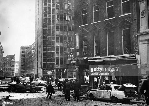 An office block loses all its windows as the result of a terrorist explosion at the Old Bailey at the time of the 1973 referendum in Northern Ireland...