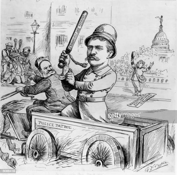 New York police commissioner Theodore Roosevelt takes his seat in Mayor Strong's Police Patrol cart waving his truncheon proudly A cartoon drawn by G...