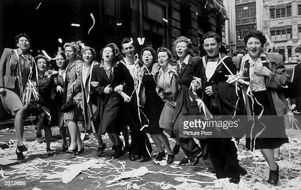People dancing in the streets of London during the celebrations for VE Day Original Publication Picture Post 1991 This Was VE Day In London pub 19th...