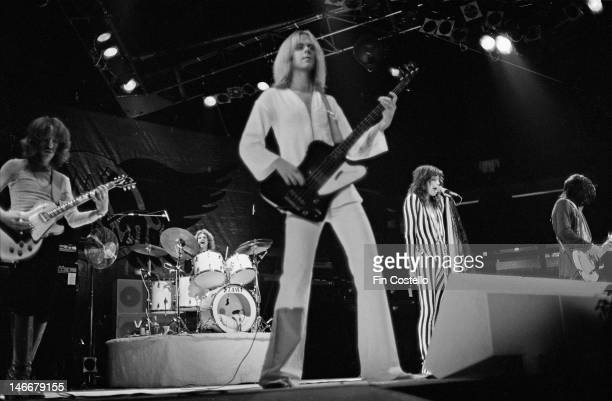 American rock band Aerosmith perform live on stage at the Pontiac Silverdome in Pontiac Michigan during their US tour on 8th May 1976 Left to right...