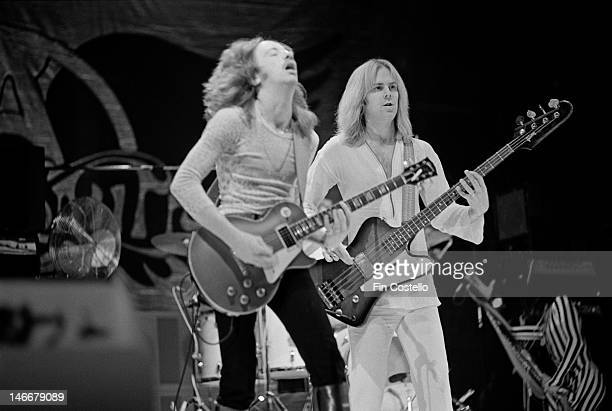 Brad Whitford and Tom Hamilton from Aerosmith perform live on stage at the Pontiac Silverdome in Pontiac Michigan during their US tour on 8th May 1976
