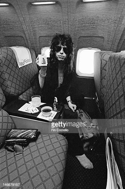 lead singer Steven Tyler from American rock band Aerosmith posed on a flight in an aeroplane before their concert at the Pontiac Silverdome in...