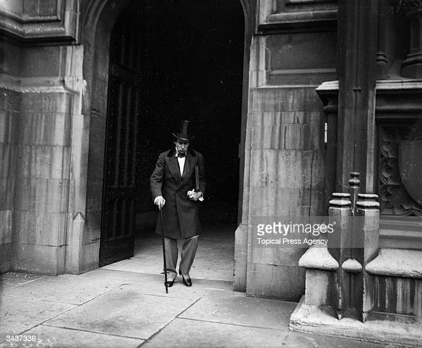 A cinematograph actor portrays British prime minister Benjamin Disraeli leaving the House of Commons in London
