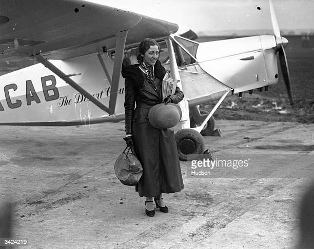 British aviation pioneer Amy Johnson at Stag Lane aerodrome before leaving for Capetown in an attempt to break her husband's 17 hour record for the...