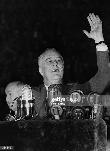 American President Franklin Delano Roosevelt speaking to a crowd of 25000 at Madison Square Gardens New York before his sweeping reelection for a...