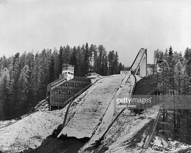 The ski jump at Cortina d'Ampezzo ready for the 1956 Winter Olympics