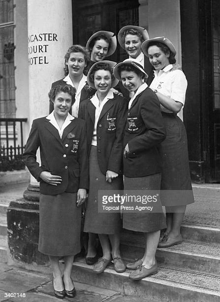 Group of British athletes outside the Lancaster Gate Hotel, London, prior to their departure for the 1956 Melbourne Olympics. Fearne Ewart, Ann...