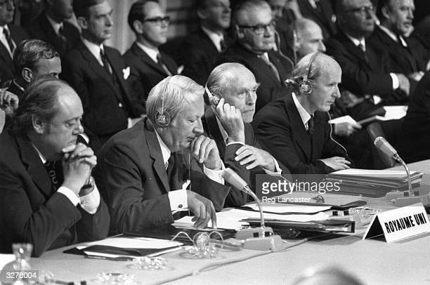 Left to right Lord Soames Prime Minister Edward Heath Foreign Secretary Alec Douglas Home and Anthony Barber during EEC talks in Paris