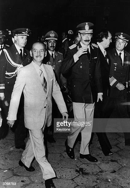 Argentinian president General Jorge Videla, right, with the Bolivian president General Hugo Banzer during a visit to Bolivia.