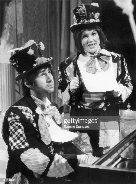 Neil Innes musician singersongwriter and former member of the Bonzo Dog DooDah Band with Gwen Taylor in 'Rutland Weekend Television' on BBC2