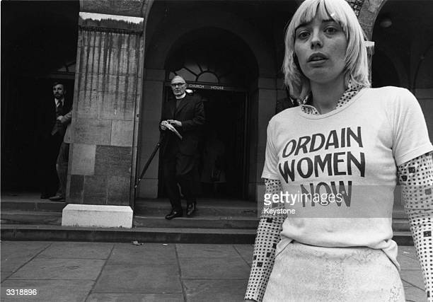 Geraldine Stevens wearing a tshirt bearing the slogan 'Ordain Women Now' outside Church House Westminster where the General Synod is discussing the...