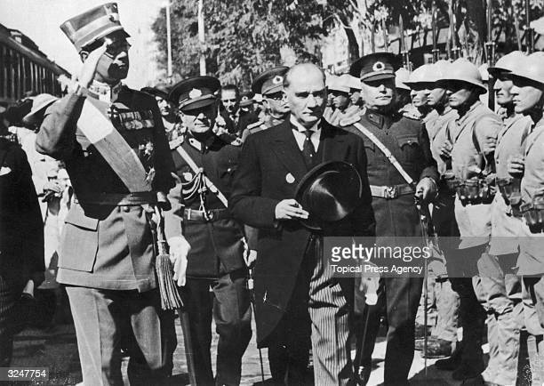 Turkish leader Mustafa Kemal Ataturk born Mustafa Kemal in Salonika entertains Crown Prince Gustav Adolf of Sweden during the latter's visit to Angora
