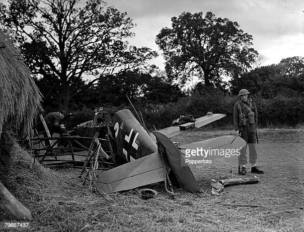 8th October 1940 A Messerschmitt 109 crashed into a haystack on the outskirts of London during World War II
