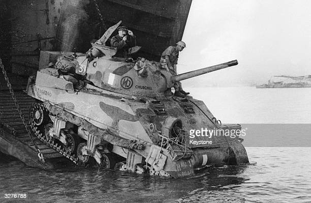 An Allied tank landing in Sicily following its transport from North Africa