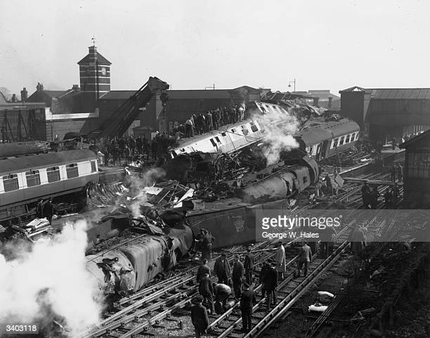 The aftermath of a triple train crash at Harrow and Wealdstone station It is feared that the death toll could reach over 100 people