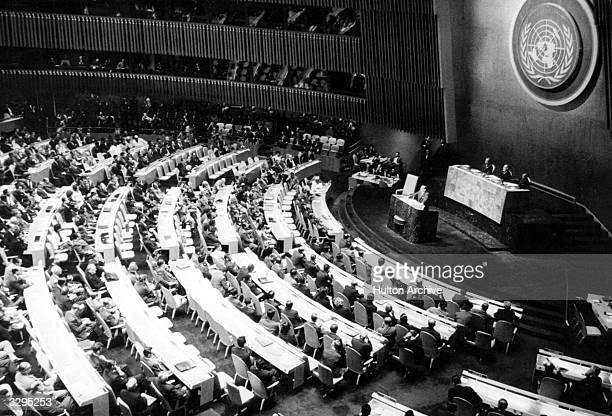 Cuba's President of the Republic, Osvaldo Dorticos Torrado, addresses the United Nations General Assembly to denounce US aggression against his...