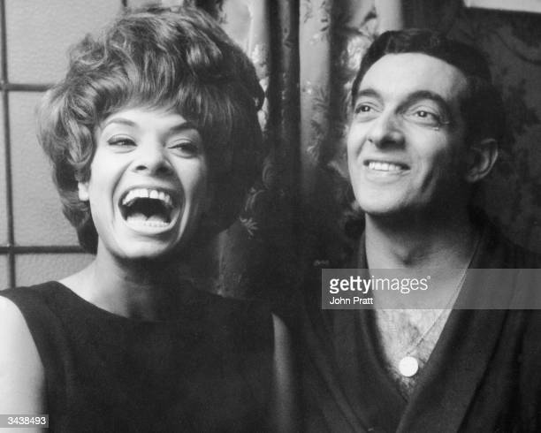 Welsh cabaret singer Lorne Lesley with British actor and singer Frankie Vaughn in Vaughn's dressing room at the London Palladium where he is starring...