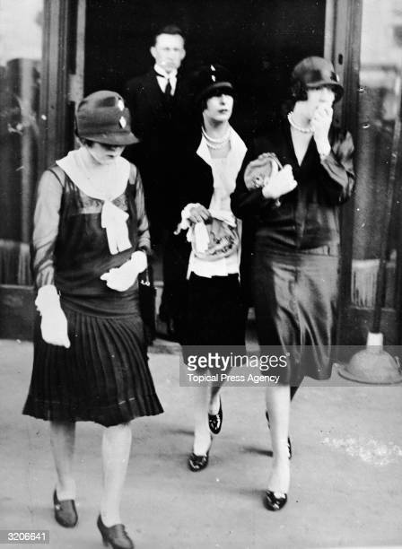 Mourners at Rudolph Valentino's funeral Left to right actress Mary Pickford and sisters Norma and Constance Talmadge