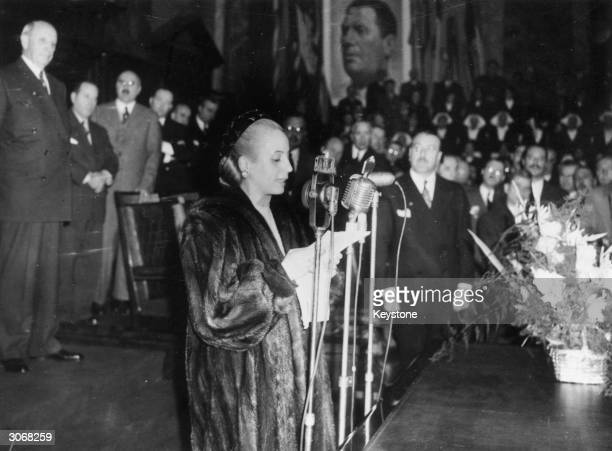 Eva Peron wife of President Juan Peron making the inaugural speech of the International Surgery Congress at the Faculty of Law and Social Sciences in...