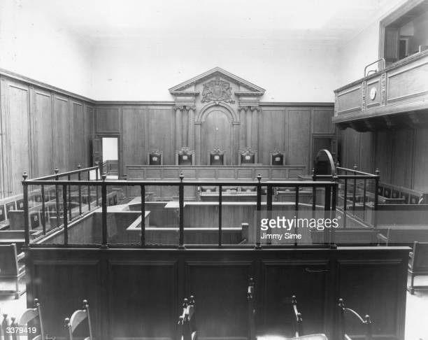 The restored interior of Court Number 2 of the Central Criminal Courts London otherwise known as the Old Bailey 500000 was awarded for building...