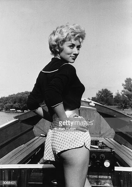Leslie Caroll star of ITV's 'Yakity Yak' shows a lot of cheek whilst boating in Blackpool Original Publication Picture Post 8673 Caroll Without Words...