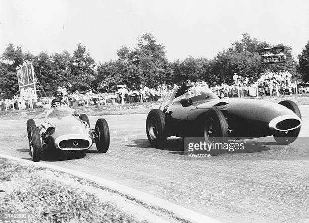 Juan Miguel Fangio and Tony Brooks competing in the 1957 Grand Prix at Monza