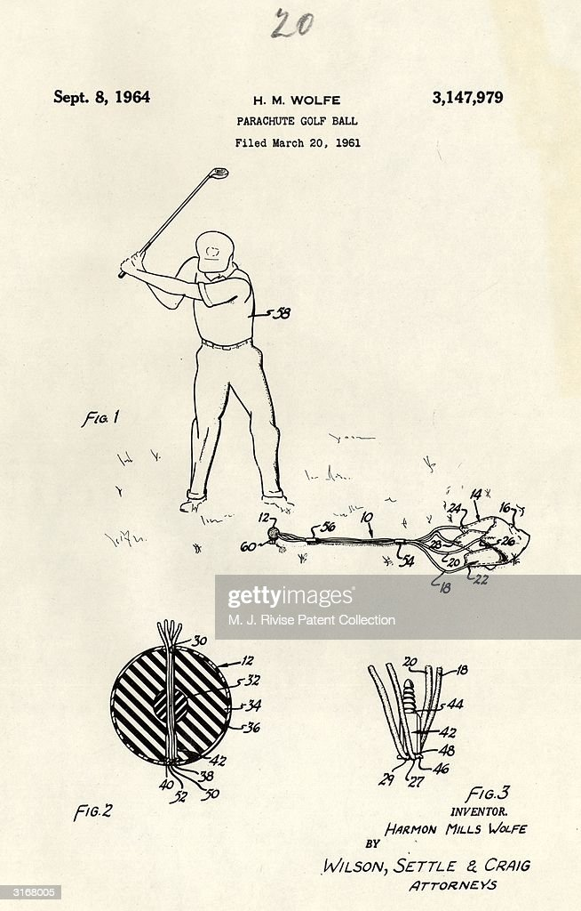 A golf ball with a small parachute attached to it designed by Harmon Mills Wolfe, patent no 3147979.