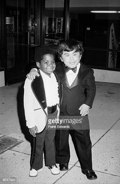 American child actor Gary Coleman and French actor Herve Villechaize posing together in tuxedos at the Fifth Annual Emmy Awards Banquet, Exhibition...