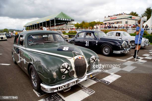 Start of the Jack Sears Memorial Trophy race on the Grid Justin Law John Young Grant Williams in their Jaguar Mk 1 cars at the 20th anniversary of...