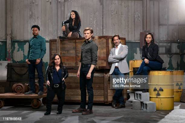 8The cast of the CBS Television Drama,, MACGYVER. Left to right: Justin Hires, Meredith Eaton, Tristin Mays, Lucas Till, Henry Ian Cusick and Levy...