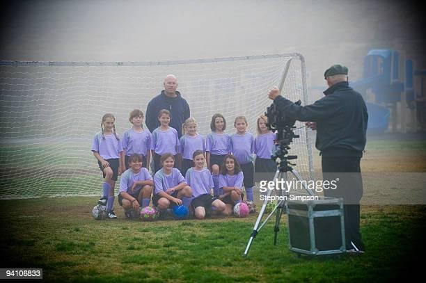 8-year-old girls soccer team portrait