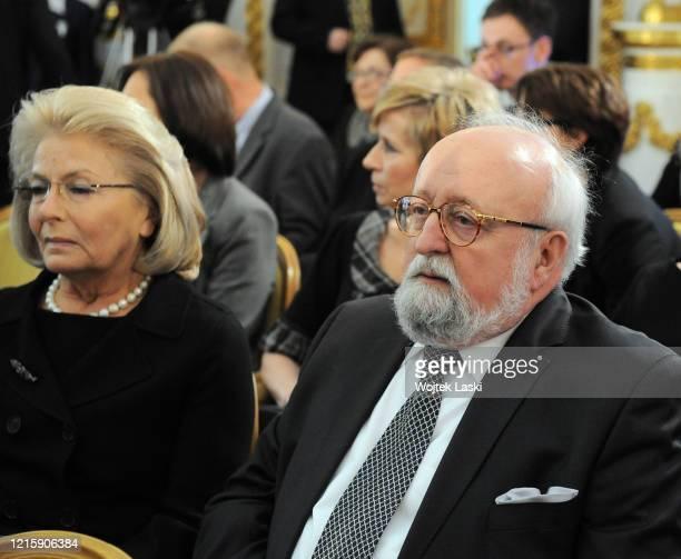 90th birthaday anniversary of Wladyslaw Bartoszewski at the Royal Castle in Warsaw pictured Elzbieta Penderecka and Krzysztof Penderecki