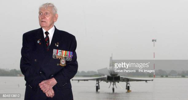 90yearold RAF veteran squadron leader Ian Blair DFM at the launch of Royal International Air Tattoo at RAF Fairford Gloustershire
