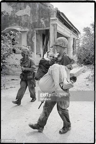9/10/1965Qui Nhon South Vietnam While most of the men in a village north of Qui Nhon fled their homes as the US Marines marched in some still...