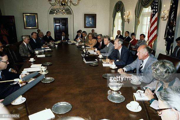 9/10/1979Washington DC Pres Carter met with new cabinet for the first time 9/10 in the White House Clockwise from Pres Carter Harold Brown Juanita...