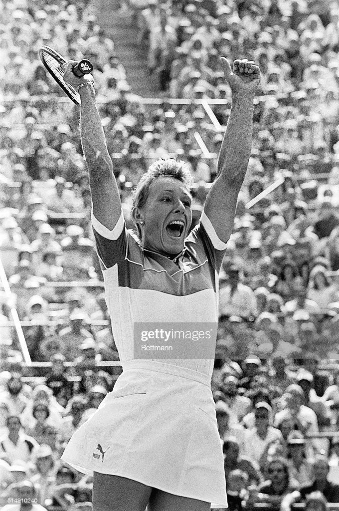 New York, New York- Martina Navratilova reacts after winning her first US Open Tennis Championship against defending champion Chris Evert Lloyd here 9/10. Navratilova defeated Lloyd in two sets: 6-1, 6-3.
