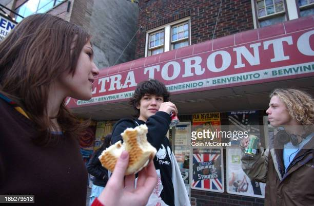 Pics of high school students eating lunch at variety store owned by manny kalanter outside variety store having lunch is l to r tiphaine leonard eric...