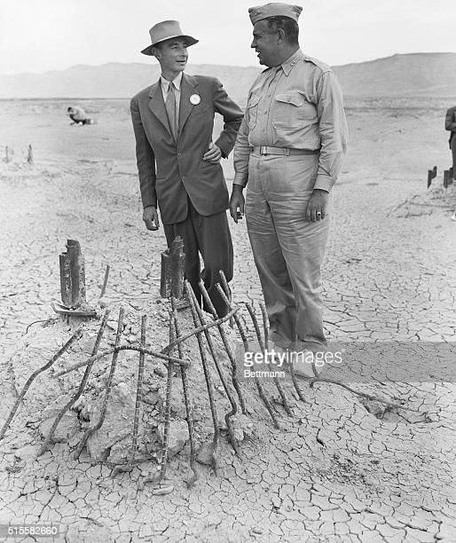 9/11/1945Alamogordo NM Maj Gen Leslie R Groves Chief of Manhattan Engineering District in which first Atomic Bomb was developed and Dr J R...