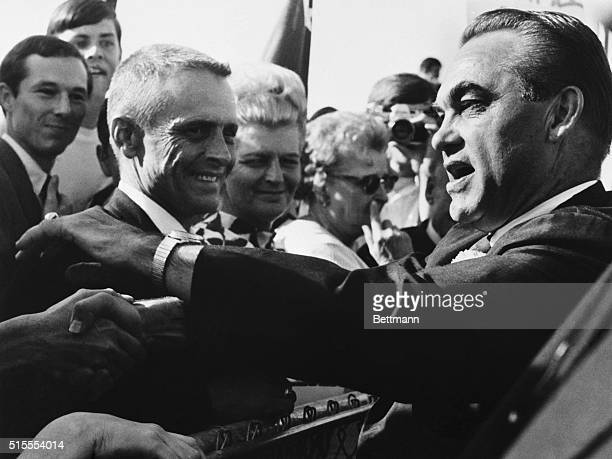 9/11/1968Little Rock AR George C Wallace American Party candidate for president disregarded security 9/11 and reached over a fence to shake hands...