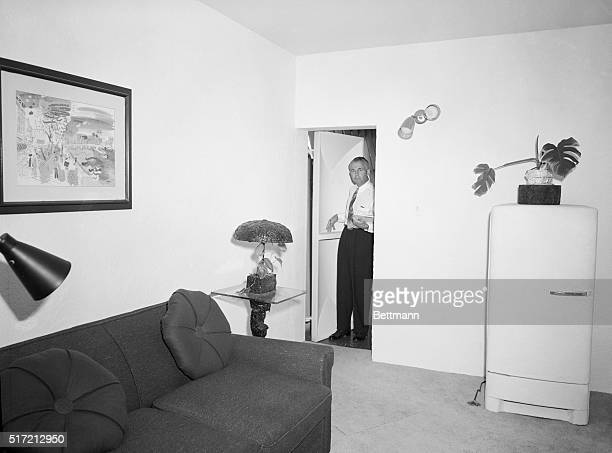 9/1/1954Hollywood CA View of the comfortable bombproof bedroom in the home of Hal B Hayes noted builder who has just been commissioned to construct...