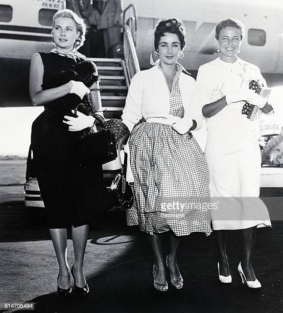 Three of Hollywood's lovliest stars emerge from a TWA nonstop flight from Los Angeles upon arriving at New York's International Airport Sept 1 L to r...