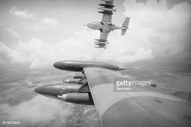 9/1/1972Over the Mekong Delta South Vietnam An American A37 carrying a deadly payload of Napalm peels off towards its target 50 miles southwest of...