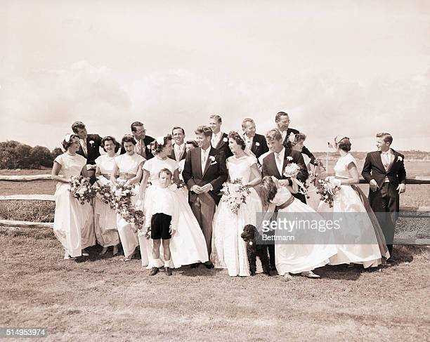 9/12/1953Newport RI The wedding party poses at Hammersmith Farm after the ceremony at St Mary's Church in Newport RI September 12 which united...