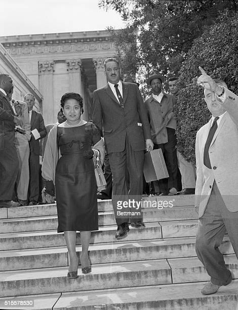 Thurgood Marshall Chief Counsel for the National Association for the Advancement of Colored People and his wife leave the Supreme Court today after...
