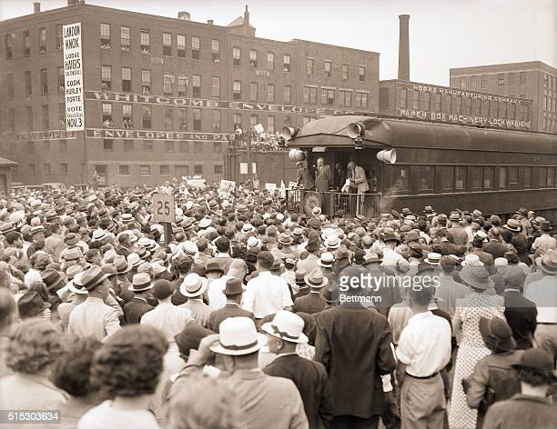 9/13/1936Worcester MA Here is a view of the crowd that turned out at Worcester MA to greet Governor Alf M Landon when his train passed through en...