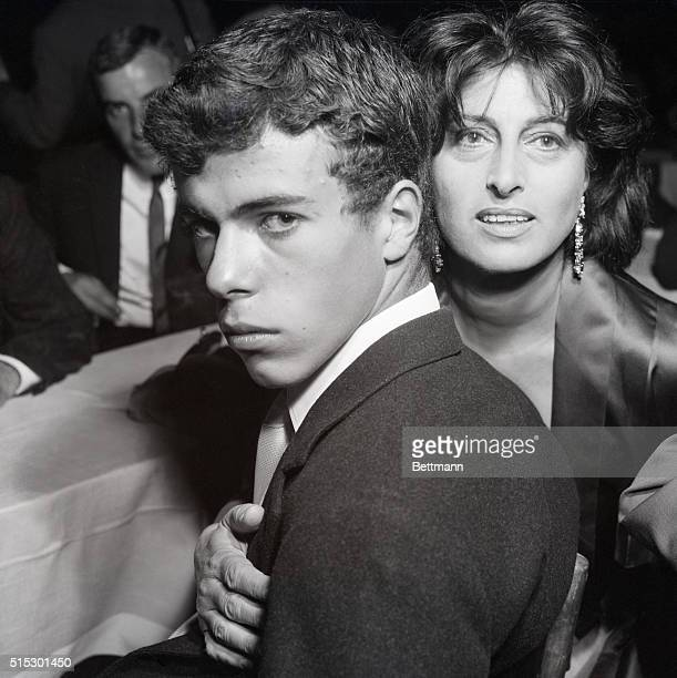 9/13/1958Rome ItalyItalian actress Anna Magnani and her son Luca are pictured at a ceremony here where she was awarded a Silver Mask Young Luca is a...
