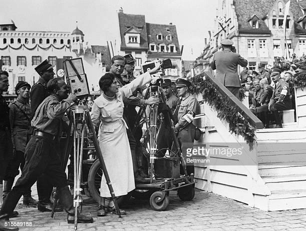 Nuremberg, Germany- Leni Riefenstahl, director of the Reichsparty-films, is pictured as she supervised the filming of the meeting of 50,000 members...
