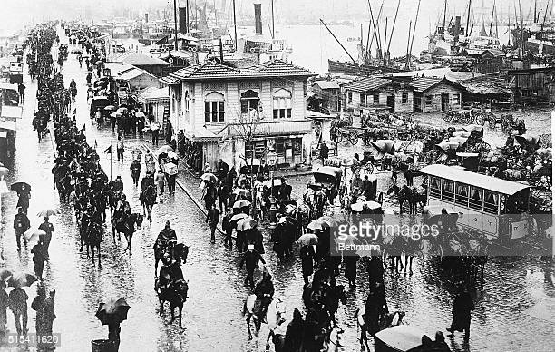9/15/1922Constantinople Turkey THE GREEK RETREAT IN ASIA MINOR Photo shows Turkish troops crossing the Galata Bridge on the outskirts of...